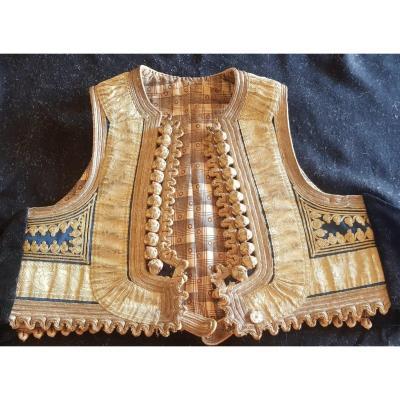 Ancien Gilet Folklorique Brodé Main Costume Traditionnel Des Balkans