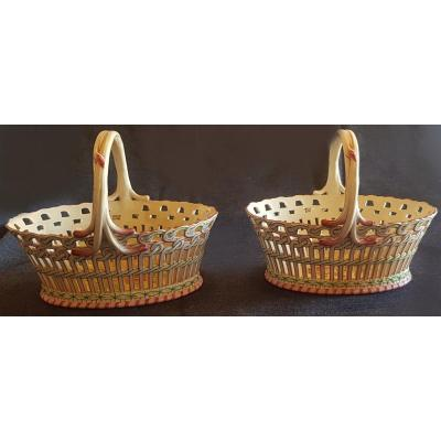 Pair Of Openwork Baskets In Earthenware From Saint Clément