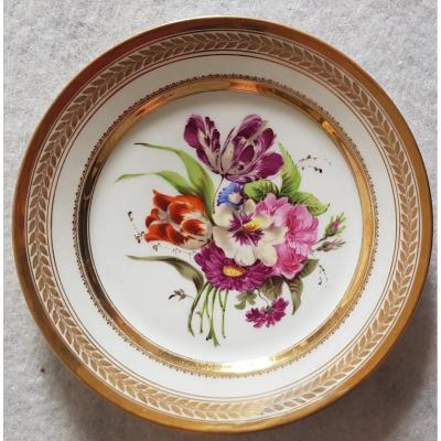 Plate N. 7 Paris Porcelain Decor Bouquet Of Flower Restoration Period 21.5 Cm Diameter