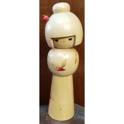 Large Japanese Kokeshi Doll Signed