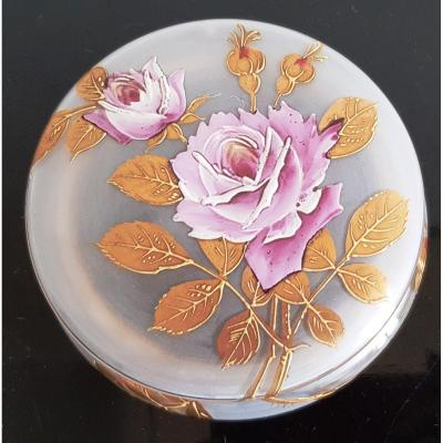 Round Opaline Glass Box Decor Of A Rose In Painted Enamel