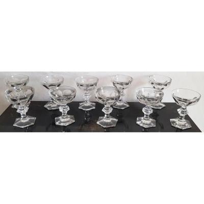 10 Coupes à Champagne Anciennes En Cristal Modèle Harcourt Hauteur Varie 12,5 -13 Cm