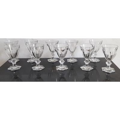 Verres Anciens Cristal Taillé Modèle Harcourt  H 15,5 Cm