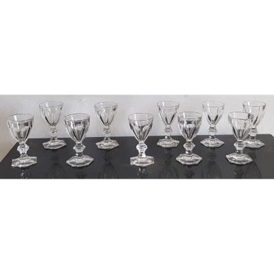10 Verres Anciens Cristal Taillé Modèle Harcourt H 12 Cm