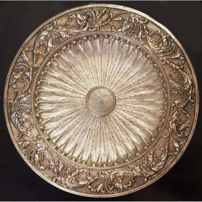 Old Presentation Dish Rich Decor Repoussé In Sterling Silver 35 Cm Diameter 720 Grams