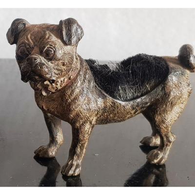 Vienna Bronze Pug Dog Sculpture Geschutzt Wiper Feather Old Inkwell