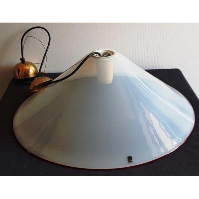 Lustre Itre Murano Verre Opaline Savoneuse Design XX s  diamètre 57cm