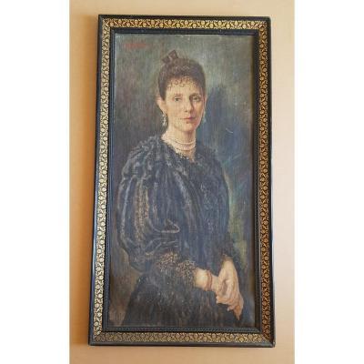 Portrait De Jeune Femme Huile Sur Toile Signé T. Nobili 57 x106 cm