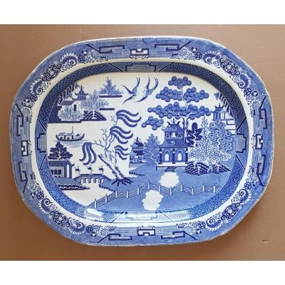 Large English Faience Dish Blue And White Chinoiserie Decor Debut XIX S Cm 42.5x52.5