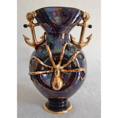 Large Earthenware Vase Etruria XX S Years '50 Anchor, Octopus And Other Marine Symbols H 34 Cm