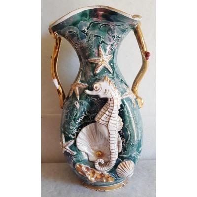 Large Italian Faience Vase XX S 1950s Seahorse Shells And Other Marine Symbols