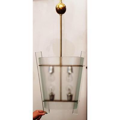 Suspension Lustre Cristal Et Laiton Design XXs Dans l'Esprit De Fontana Arte
