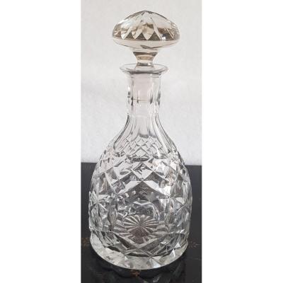 Bouteille Carafe Cristal De Bohème XIXs Soufflé Et Taillé