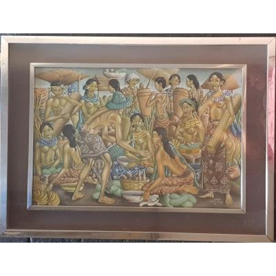 Canvas Painted Signed By Thai Artist Wayan Dolik Bali 77x57 (59x39) Cm