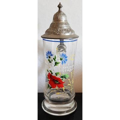 German Tankard Souvenir From Germany Zum Andenken Glass Decor Enamel Painted Tin Lid