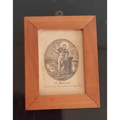 Petite Gravure Antique Encadrée Image Pieuse De  Saint Roch De Montpellier