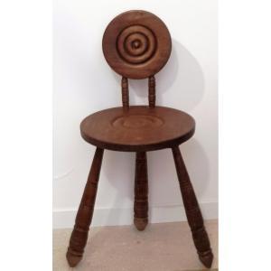 Ancienne Chaise Pour Enfant Primitive Brutalist  Chêne
