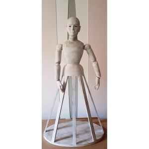 Articulated Workshop Painter Mannequin In Tinted Wood H 85 Cm