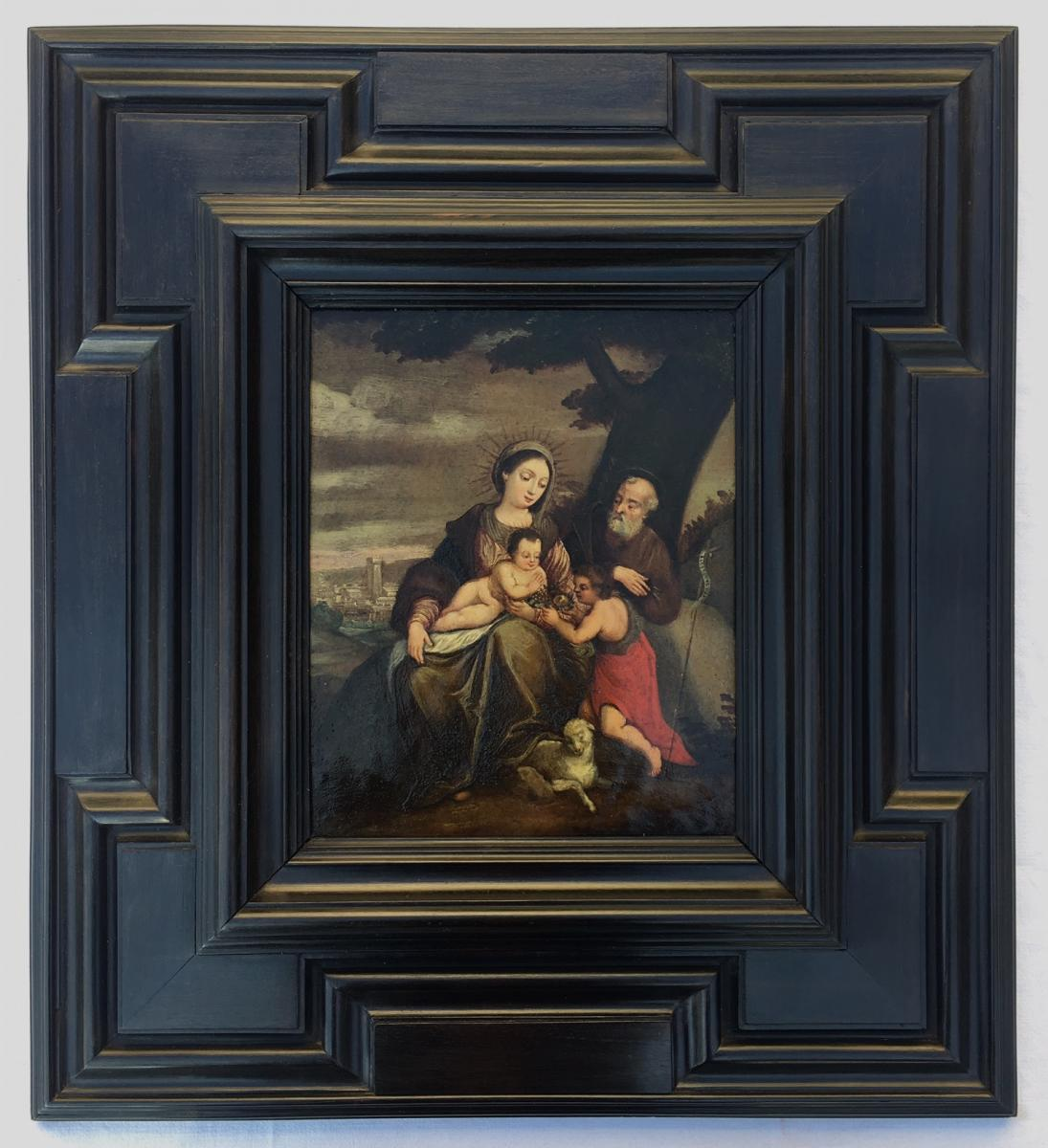 Ecole Italienne Du Début Du XVIIe Siècle. La Sainte Famille Avec Saint-jean Baptiste.