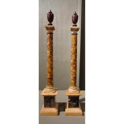 Paire De Colonnes Néo-classiques En Marbre Et Porphyre d'Egypte
