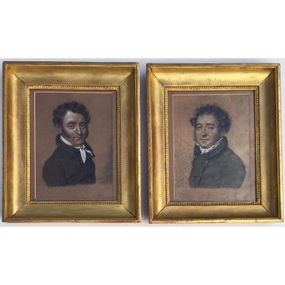 Julien Léopold Boilly (Paris 1796-1874). Paire De Portraits d'Homme.