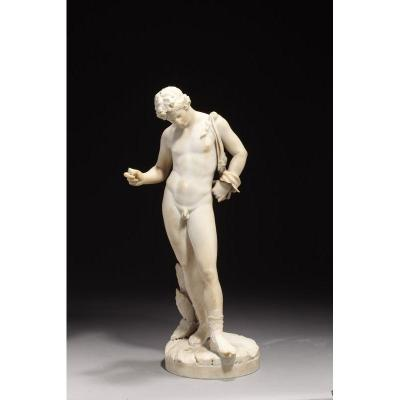 Statue Marble White Carrara After Antique Representative Narcissus.