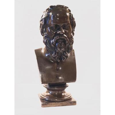 Buste En Bronze Représentant Socrate. F. Barbedienne Fondeur