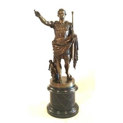 Sculpture En Bronze Représentant l'Empereur Auguste Dit De Prima Porta. Italie, XIXe Siècle.