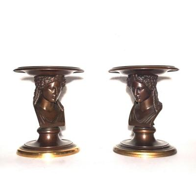 Pair Of Pocket Cups In Patinated And Gilded Bronze. F. Barbedienne Foundry.