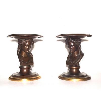 Paire De Coupes Vide-poche En Bronze Patiné Et Doré. F. Barbedienne Fondeur.
