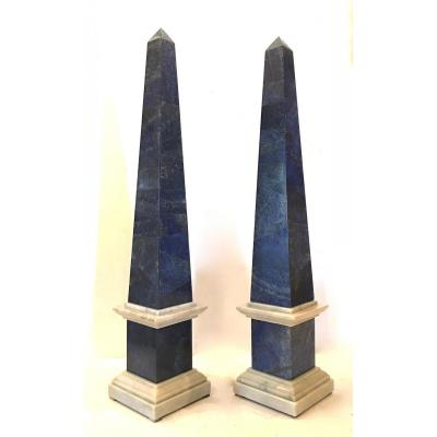 Pair Of Lapis Lazuli And White Marble Obelisks. Italian, 20th Century.