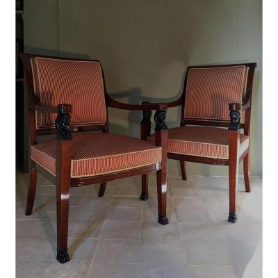 Pair Of Mahogany Armchairs.