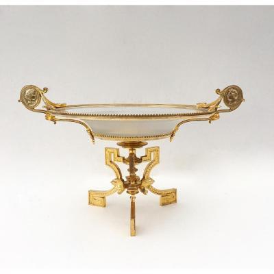 Coupe Néoclassique En Bronze Doré Et Cristal Gravé. XIXe Siècle, Vers 1850.