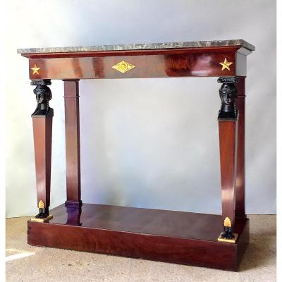 Console Aux Cariatides In Mahogany And Mahogany Veneer. Empire Period.