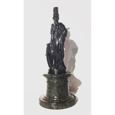 Statuette En Bronze Ciselé Et Patiné Représentant La Déesse Athéna. XIXe Siècle.