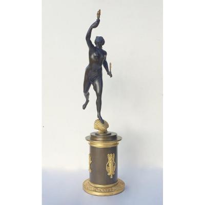 D'Après Jean De Bologne. Allégorie De La Fortune En Bronze Patiné.  XIXe Siècle.