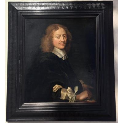 Ecole Hollandaise Vers 1650, Entourage De Ferdinand Bol. Portrait d'Homme Accoudé.