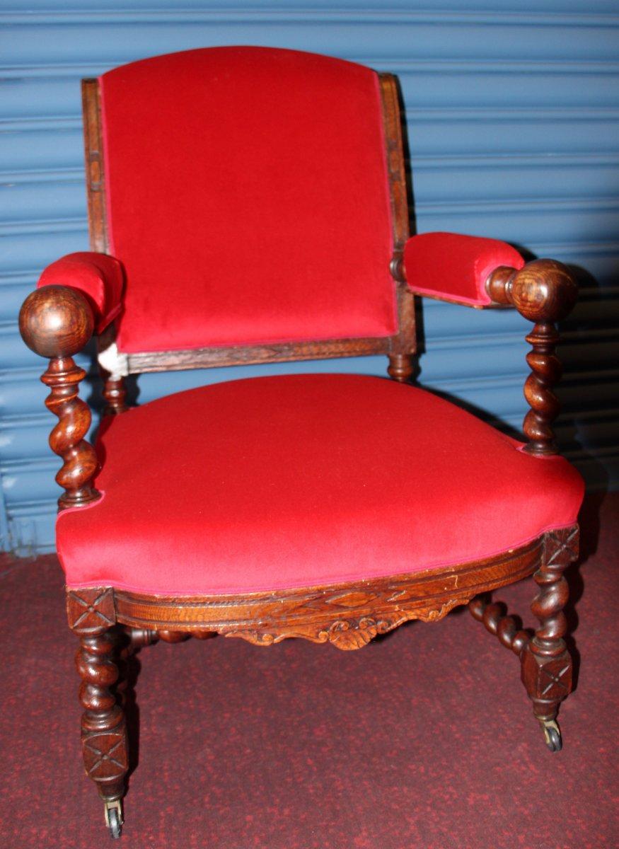 Paire de fauteuils de style LouisXIII-photo-2