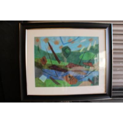Henri GOETZ painting composition 1974 heated pastel signed lower right<br /> Pastel exhibition May-June 1988 Bellint Paris gallery<br /> This work will be reproduced in the catalog raisomme tomme 2 currently in preparation<br /> by mr Fr&eacute;d&eacute;ric Nocera