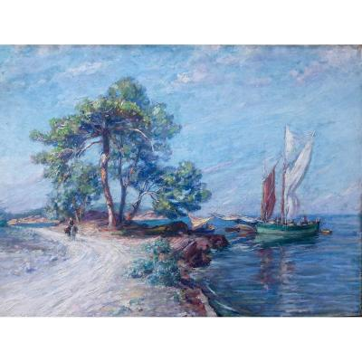 Painting - French school around 1900 -<br /> Oil on canvas - Mediterranean landscape -<br /> Dimensions 97 x 130cm - with its gilded wooden frame 115 x 148cm