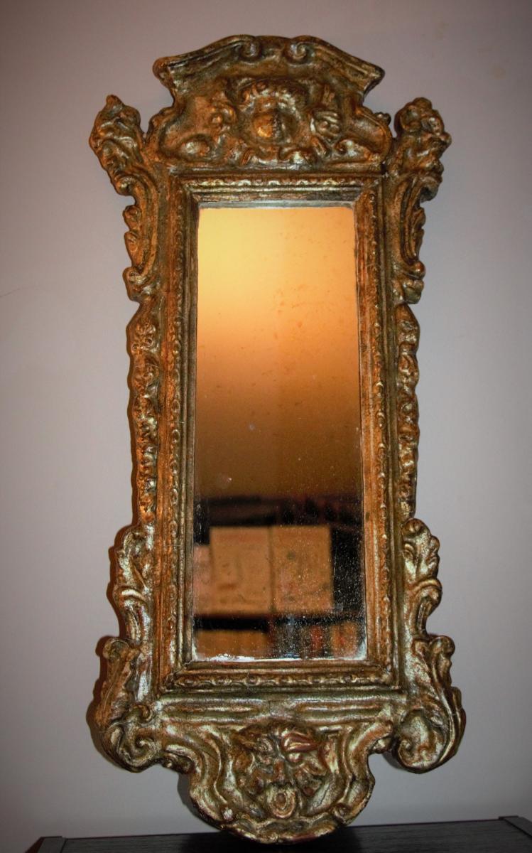 Miroir Italien En Bois Et Stuc Doré. XIXe.