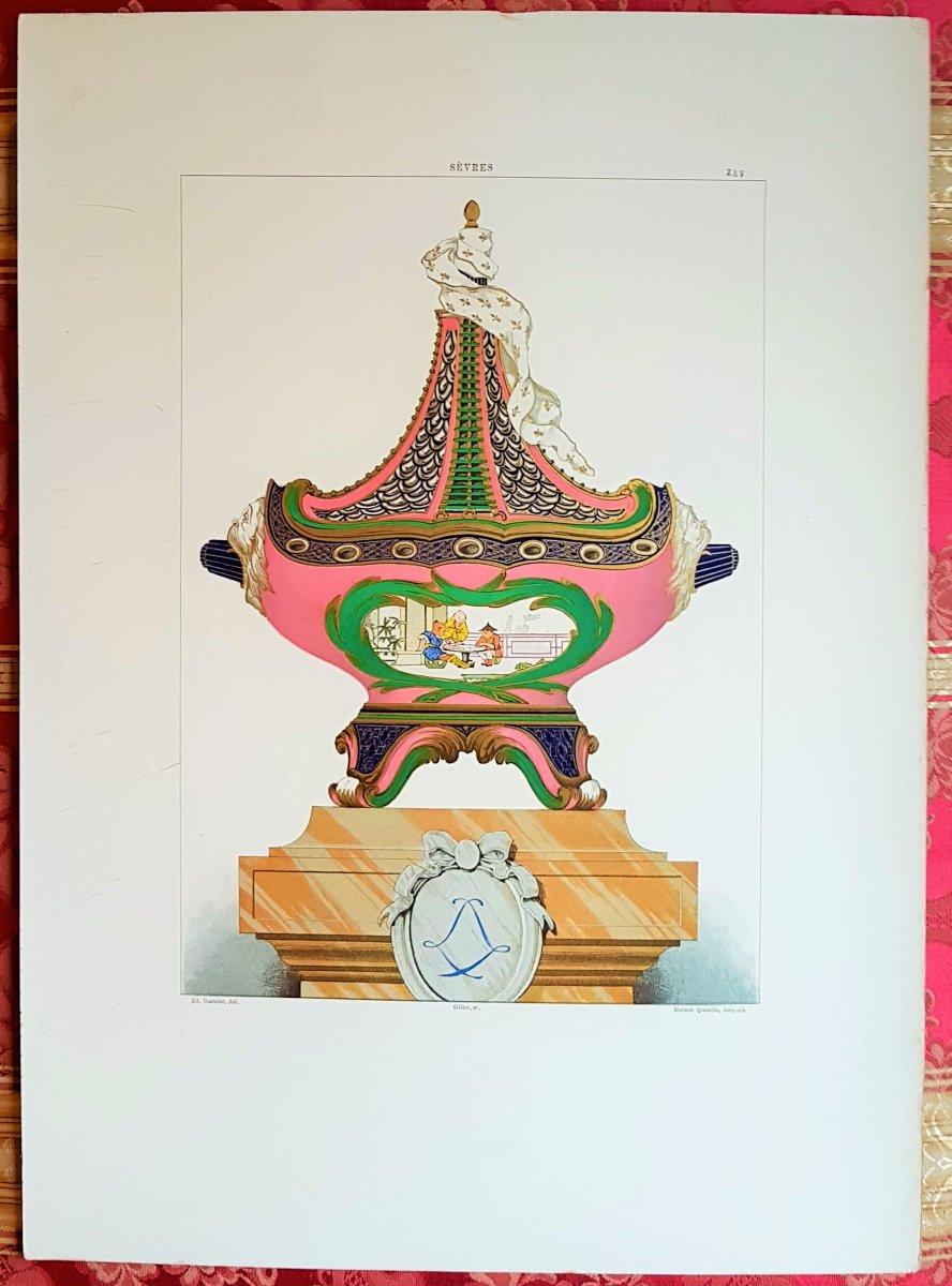 Ed. Garnier, 1892, Sèvres Chromo Lithographie : Pot-pourri Vaisseau  (Pompadour)