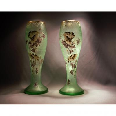 Pair Of Vases Legras-montjoye. Ca 1900. Signed In Gold