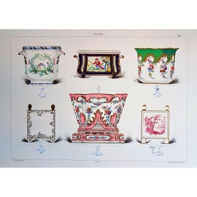 Ed. Garnier, Chromo Lithography 1892: Various Planters In Sèvres Porcelain
