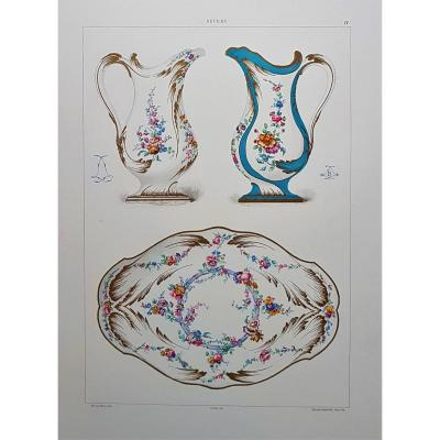 Ed. Garnier, Chromo Lithography, Sèvres 1892. Jugss And Basin (duplessy Toiletry Kits)