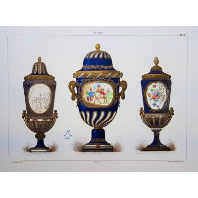 Ed. Garnier, Chromo Lithograph, Sèvres 1892. 3 Vases South Kensington (v&a)