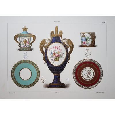 Ed. Garnier, Chromo Lithography, Sèvres 1892. Porcelain