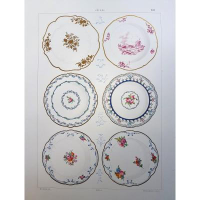 Ed. Garnier, Chromo Lithography, Sèvres 1892. Simple Decor Plates.
