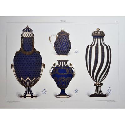 Ed. Garnier, Chromo Lithographie, Sèvres 1892. Vases Bleu Et Or Des Années 1770