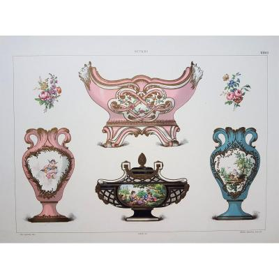 Ed. Garnier, Chromo Lithographie, Sèvres 1892. Vases formes Duplessis et Bachelier